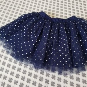 Like New 3 Layer Navy Tutu with Silver Hearts